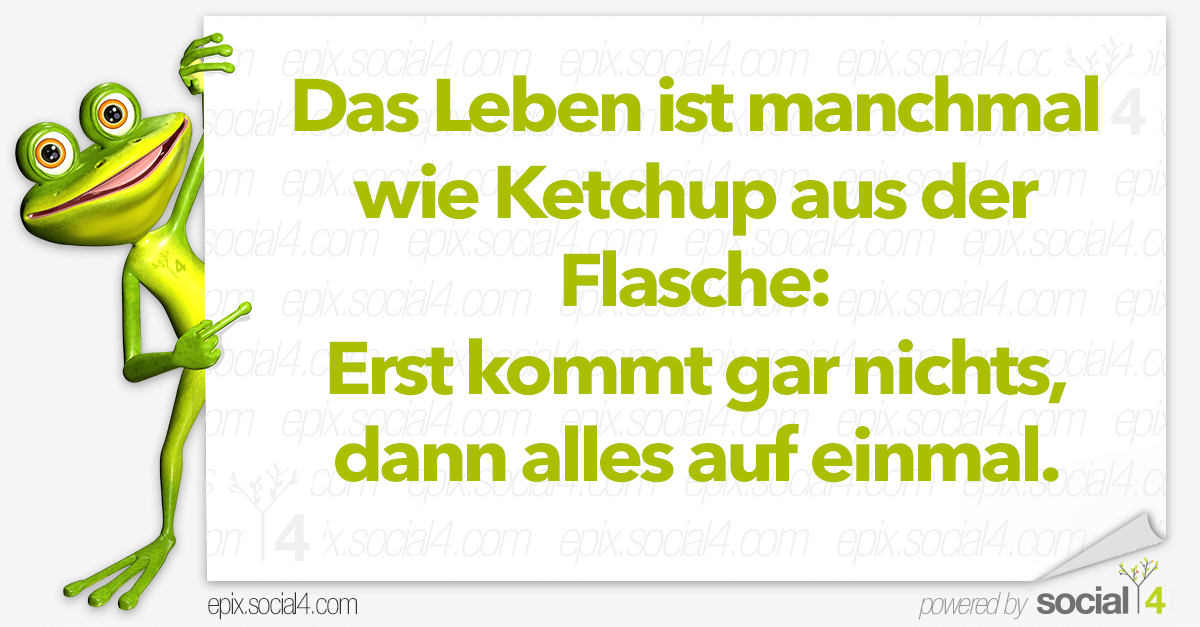 Lustige Sprüche - Das Leben ist manchmal wie Ketchup