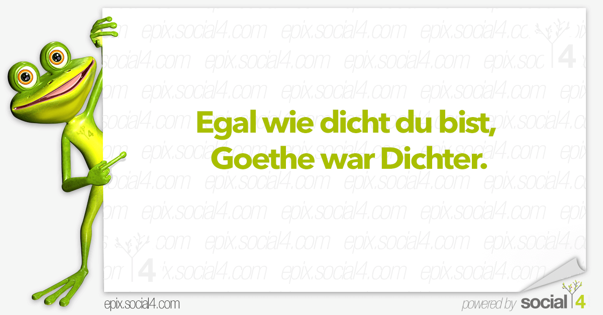 Lustige Sprüche - Goethe war Dichter